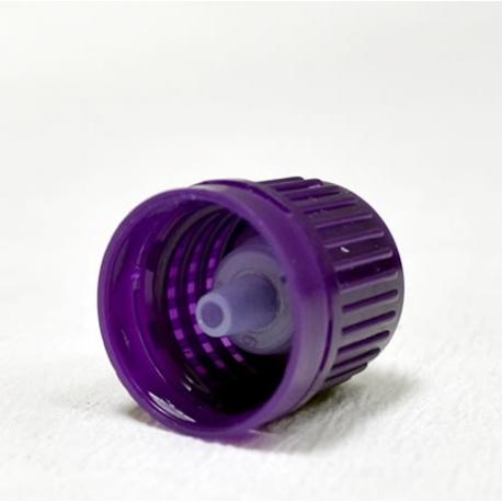 Zatvarač za bocu kapalicu, DIN 18, lavanda, sig.prsten vanjski i međučep kapalica za gusti medij