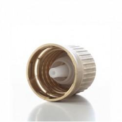 Zatvarač za bocu kapalicu, DIN 18, bijeli, sig.prsten vanjski i međučep kapalica za alk.medij