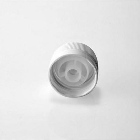 Zatvarač za sirup bocu okruglu PP 28, bijeli, sig.prsten i međučep pourer (razdijelnik)