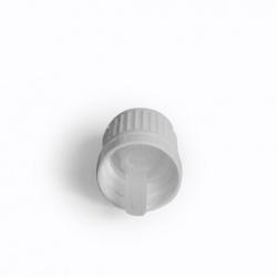 Zatvarač za bocu kapalicu, DIN 18, bijeli, sig.prsten vanjski i međučep kapalica za rijetke medije