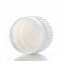 Zatvarač za bocu kapalicu, DIN 18, bijeli, sig.prsten, bez umetka